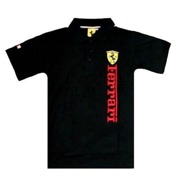 1セール!  フェラーリ ロゴ  ポロシャツ ブラック M f184
