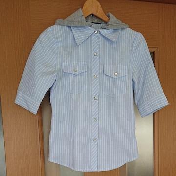 【値下げ不可】新品未使用!!フード付きストライプ柄5分袖シャツ
