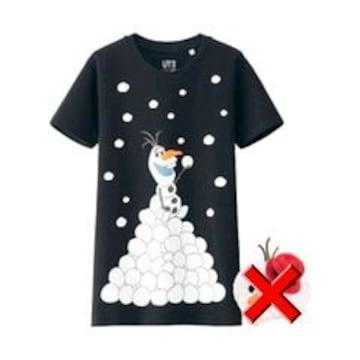 ユニクロ×Disney・アナ雪オラフTシャツ。ブラック
