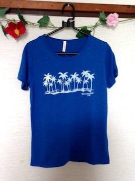 男女兼用◆ハワイアン ヤシの木  Tシャツ ブルー M