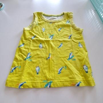 黄色にペンギン模様袖なしTシャツ100