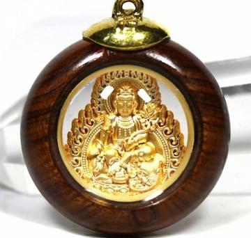 木枠 丸型 八大観音 普賢菩薩のペンダントトップ 男女兼用 辰 巳