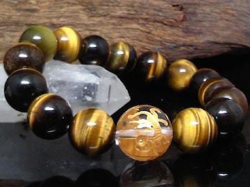 四神獣四体彫水晶14ミリ§タイガーアイ12ミリ数珠