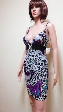 ☆新品タグ付☆キャバ☆胸元ビジュ&豹蝶柄のドレス☆3点で即落