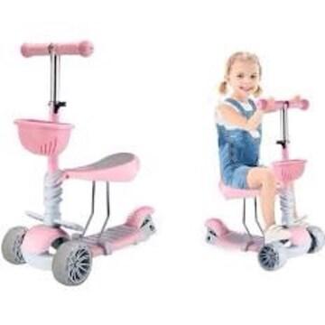 ピンク キッズ スクーター キックボード 三輪車 子供用 幼児用 3