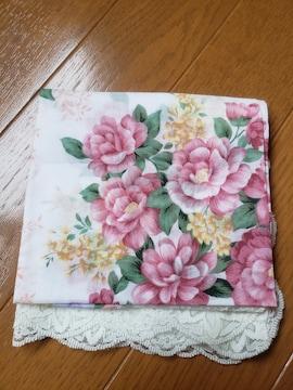 ☆新品☆レース使いピンク花柄ハンカチ
