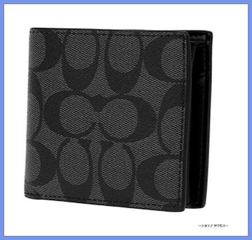 新品■コーチ COACH 二つ折り 短財布 メンズ ブラック//00017426
