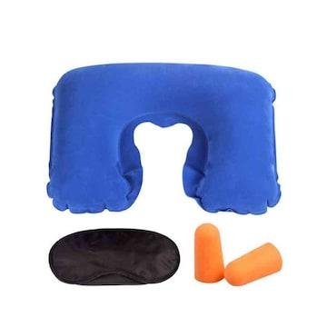 安眠 快適 セット 枕 アイマスク 耳栓 3点セット ブルー