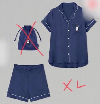 GU・崎陽軒×ケイタマルヤマ・パンダ刺繍サテンパジャマ紺XL