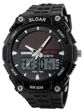 ソーラー腕時計 メンズ デジアナウォッチ スポーツ 黒