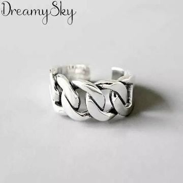 フリーサイズ 編み込み チェーン リング 指輪