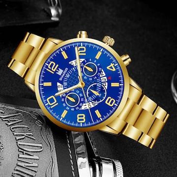 4新品 腕時計メンズ★ラグジュアリーゴールド ★高級感 箱付き
