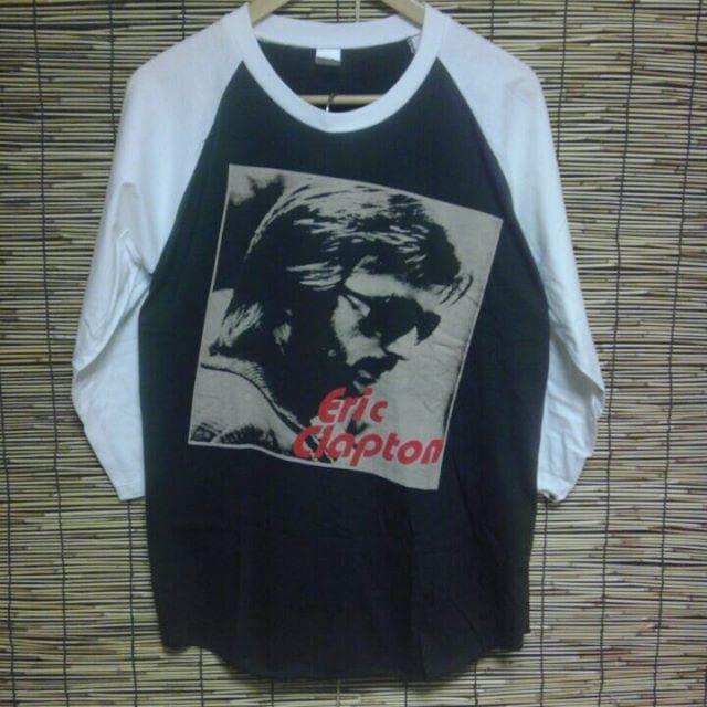 ロックT/バンドT Eric Clapton エリック・クラプトン ラグラン7分袖 未使用 L < 男性ファッションの