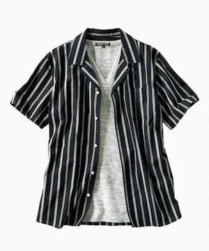 Mサイズ!ストライプ柄オープンカラー半袖シャツ&半袖ワッフル素材Tシャツ!2点セット!新品!