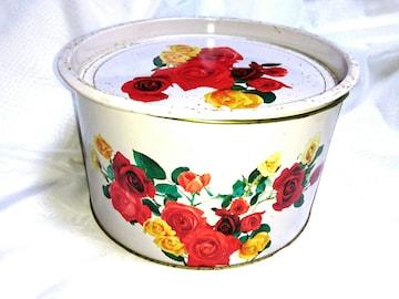 昭和 大 缶 花柄 薔薇 レトロ ビンテージ メルヘン ファンシー