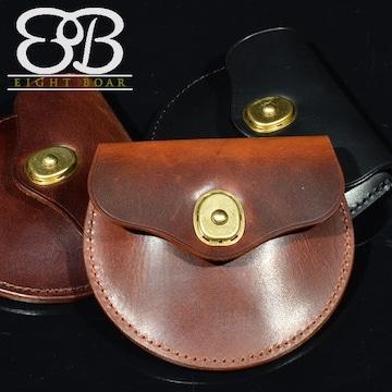◆牛本革 蝋引き厚手レザー 半円型コインケース 紳士 メンズ◆s4