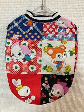 ★ハンドメイド レトロアニマル シャツ ボーダー 犬服 S★
