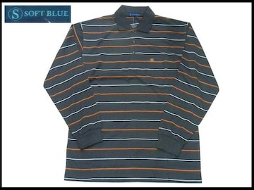 新ボーダーストライプポロー L グレ色 Soft Blue