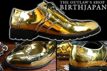 送料込 ゴールド ドレス シューズ 靴 メンズ 成人式 オラオラ ホスト 113 金 26.5