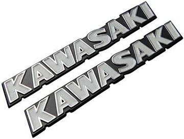【219】 カワサキ旧ロゴ タンクエンブレム ホワイト 2枚セット E