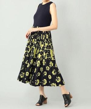 バイカラーフラワーニットワンピース紺黄色花柄ドレスグレース