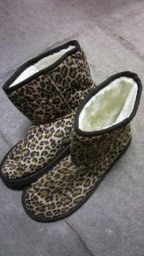 ムートン豹柄ブーツ