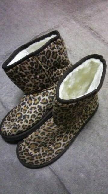 ムートン豹柄ブーツ  < 女性ファッションの