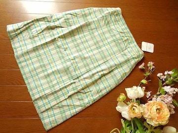 新品Tip Tip黄緑水色チェック柄ボックスプリーツスカートM