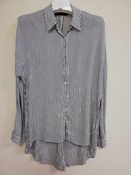 ZARA レーヨンシャツ ボーダー柄 羽織 美品 XS