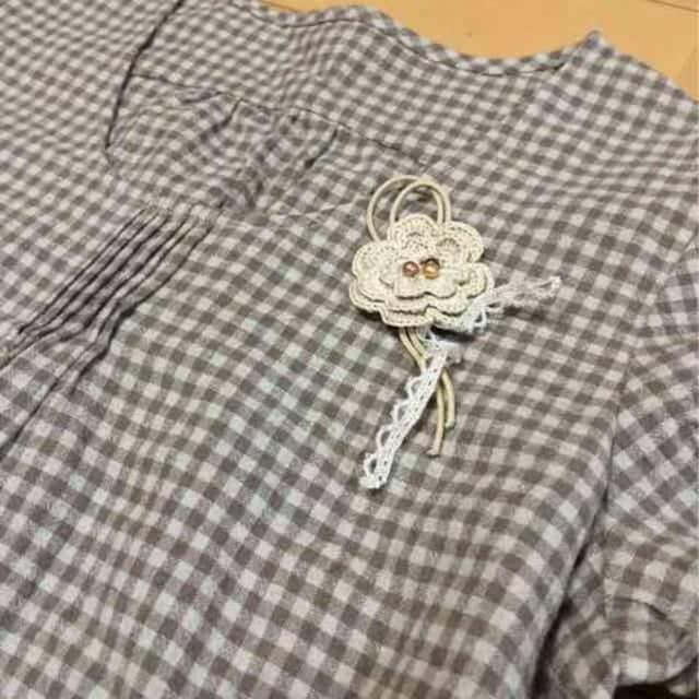 新品◆ハンドメイド♪七分袖ワンピース♪コサージュ付チェック柄 < 女性ファッションの