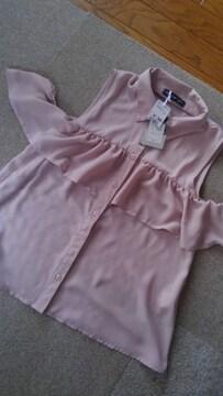 Lサイズ!淡い落ち着いたピンク色!付き肩付き!ノースリーブさらっとブラウス!