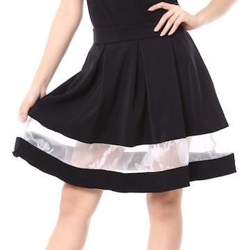 送料無料girlstyle☆異素材切替フレアスカート☆透け感
