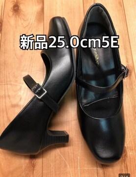 新品☆25�p幅広5E黒ストラップパンプス5�pヒール制菌消臭j928