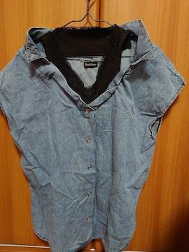 新品未使用 重ね着風デニムシャツ サイズM
