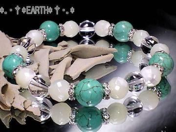 天然石★マザーオブパール&タ-コイズ&水晶AAA数珠