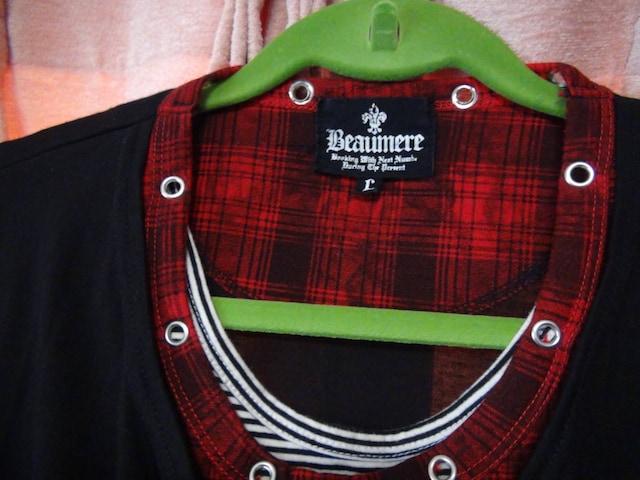 Beaumereのトリプルシャツ(L)赤と黒!。 < 男性ファッションの