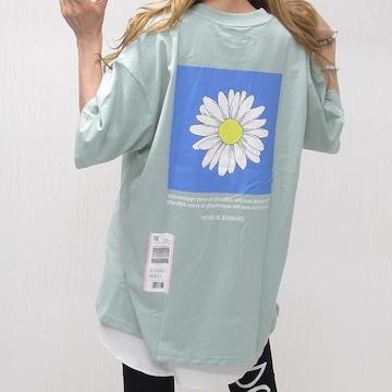 NEW最新ディジーFlowerバックロゴTシャツ/ミント