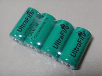 UltraFire CR123A 3.0V 800mAh Li-ion 充電池 緑 4本セット