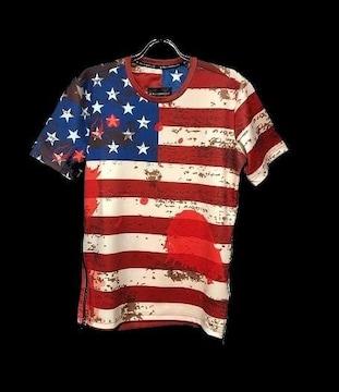 セール新品送込アメリカ星条旗柄★サイドジップ★ナイロンデザインTシャツL