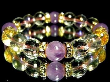 ラベンダーアメジスト・128面水晶・ピンクオーラ10ミリ数珠
