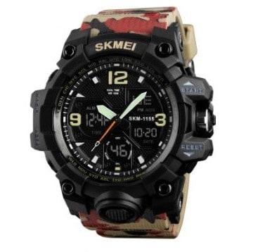 SKMEI 1155B スポーツウォッチ(迷彩タイプ、レッド)