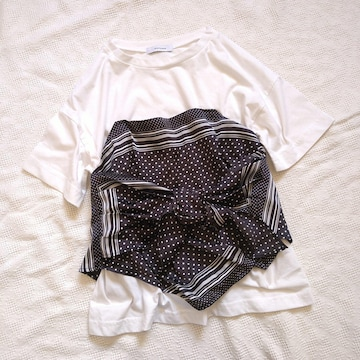 JEANASIS/身頃スカーフ使いがかわいいオシャレTシャツ
