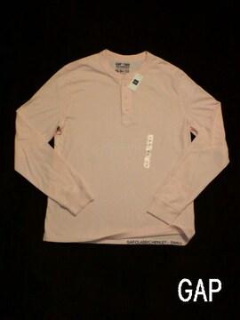 □GAP/ギャップ ヘンリー ロング Tシャツ/ピンク・メンズ☆新品/サーフ