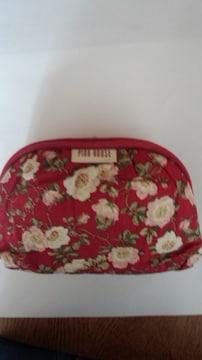 ピンクハウス中古美品ポーチ渋赤に花柄16×11×マチ3