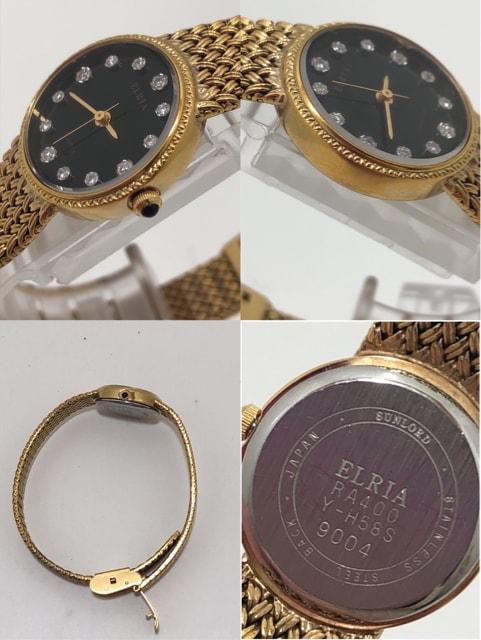 T289 美品 ELRIA エルリア クオーツ レディース 腕時計 < 女性アクセサリー/時計の