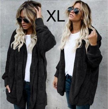 新品☆フード付き♪モコモコゆるゆるジャケット ブラック XL