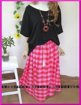 新作◆大きいサイズ~3L4Lカラフルチェック柄◆裏地付ロングスカート