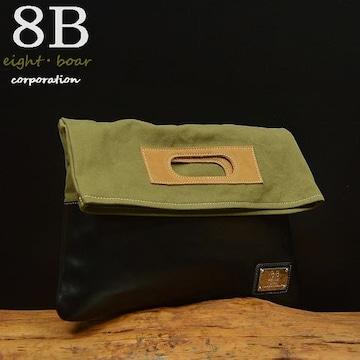 ◆8Bオリジナル ミリタリークラッチバッグ 帆布×牛革◆b54
