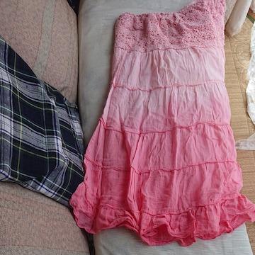 新品未使用!!桃色ピンク グラデーション マキシスカート