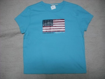 66 女 ラルフローレン 青 半袖Tシャツ M
